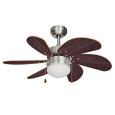 Modern Brushed Chrome & Wood 6 Blade Ceiling Fan with Light - 3 Speed Settings