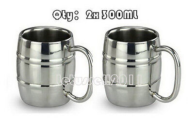 300ML 2x STAINLESS STEEL DOUBLE-WALL BILAYER TEA COFFEE BEER MUGS CUPS (STRIPED)