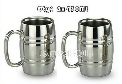 430ML 2x STAINLESS STEEL DOUBLE-WALL BILAYER TEA COFFEE BEER MUGS CUPS (STRIPED)