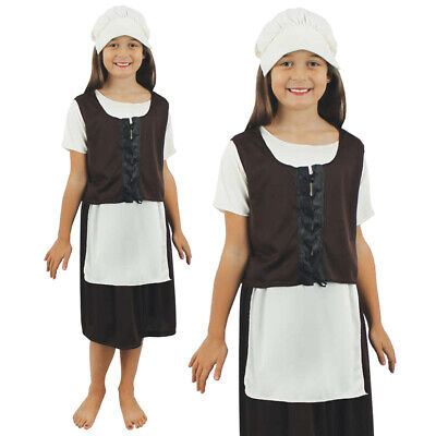 Poor Tudor Girls Costume Kids Historical Victorian School Book Day Fancy Dress