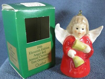 Goebel Annual Angel Bell Ornament 1986 Bells Red Boxed West Germany Vintage