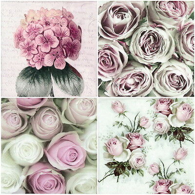 4x Paper Napkins for Decoupage Craft Romantic Flowers -mix