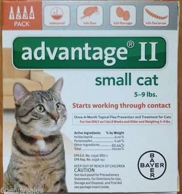 Bayer Advantage II Small Cats 4 Pack Flea Drops Lice Medicine Orange Box US EPA