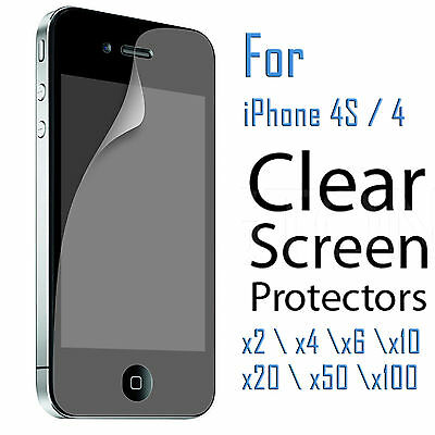 2x 4x 6x 10x 20x 50x Clear Screen Protector Film for Apple iPhone 4 4S 4G Lots