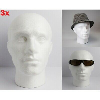 3x POLYSTYRENE MALE DISPLAY HEAD MANNEQUIN FOR HATS, GLASSES, SCARFS