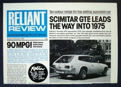 RELIANT REVIEW NEWSPAPER No 67 October 1974 - SCIMITAR GTE Robin Test Record