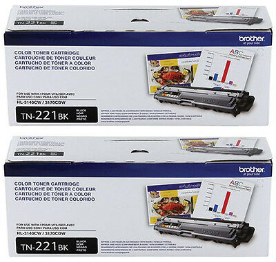 Genuine Brother Tn221Bk Black Toner Set (2-Pack) Hl-3140Cw Hl-3170Cdw Mfc-9130Cw