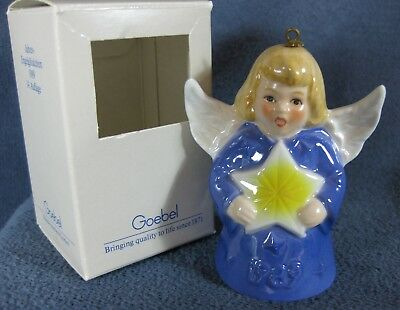 Goebel Annual Angel Bell Ornament 1989 Star Purple Blue Boxed West Germany Vtg