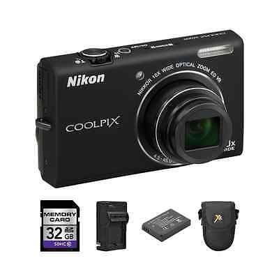 Nikon Coolpix S6200 Digital Camera - Black + 2 Batteries, 32GB & More