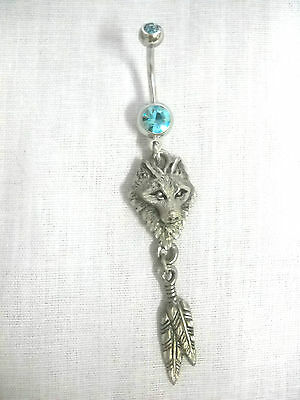 NEW EJC WOLF HEAD & TWIN FEATHERS DREAM CATCHER 14g TURQUOISE BLUE CZ BELLY RING