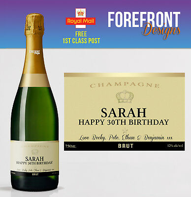 Personalised Champagne bottle label, Perfect Birthday/Wedding/Graduation Gift