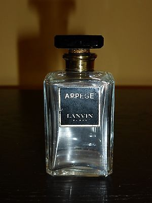 """Vintage Lanvin Arpege Perfume Bottle with Glass Stopper and Black Label 3"""" Tall"""