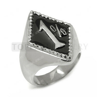 Biker 1% ER Motorcycle Outlaw One Percenter Stainless Steel Ring MER200