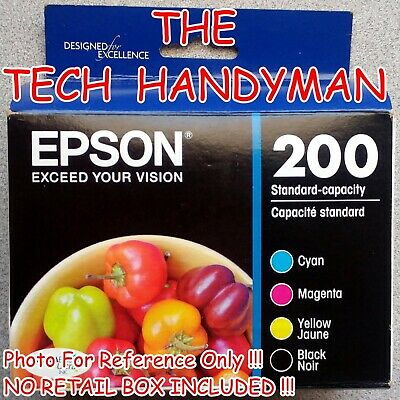 4-PACK Epson GENUINE 200 Black & Color Ink (NO RETAIL BOX) for EXPRESSION XP-400