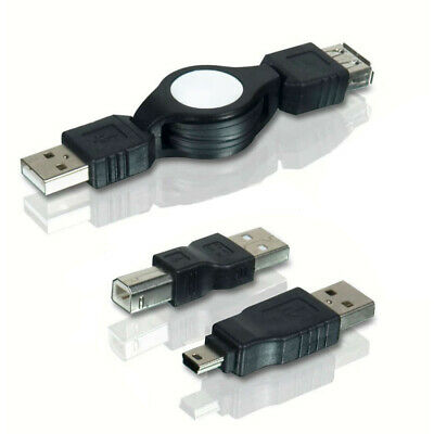 Cable Retractil USB 2.0 Macho a Hembra 1.2m + Adaptador mini USB + USB B Escaner