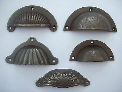 Cast Iron Victorian Style Shell Cup Cupped Chest Drawer Cupboard Pull Handles