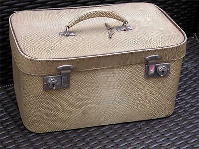 Vintage Travel Goods Ltd Faux Skin Vanity Case Box + Key Top O'hill Luggage M827