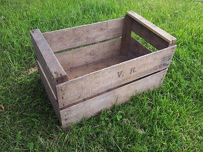 Vintage Wooden Pear Fruit Crate - Rustic Old Bushel Box Shabby Chic Storage *