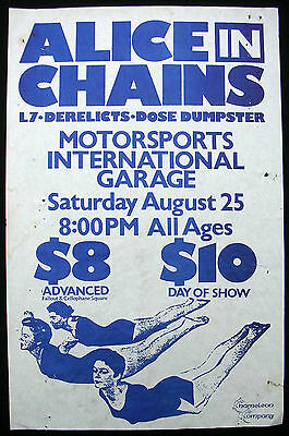 ALICE IN CHAINS  Motor Sports Int'l Garage SEATTLE 1990 CONCERT POSTER L7 Layne