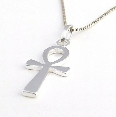 Solid 925 Sterling Silver Egyptian Ankh Cross Pendant Necklace Silver Box Chain