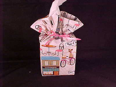 Kitty Cat France Rue d Adrienne on a bike Tissue Box Cover Free Shipping