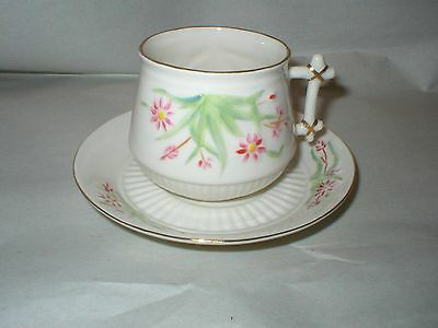"BEELEEK IRELAND ""FINNER"" PINK FLORAL DECORATED CUP AND SAUCER (Price Reduced)"