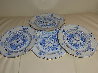 HEREND IMPRESSIVE SET OF 4 BLUE DESSERT PLATES NUMBERED 517 - VERY RARE!