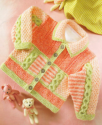 """DK Baby Jacket / Collar Stripe Cable Heart Textured  16""""- 26""""  Knitting Pattern"""
