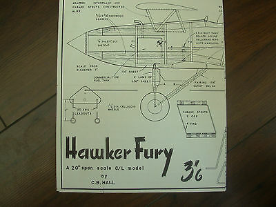 HAWKER FURY 20in SPAN SCALE VINTAGE AEROMODELLER PLANS By C.B. HALL
