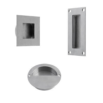 Flush Pull Handle Recessed Sliding Door Circular Square Round Stainless Steel