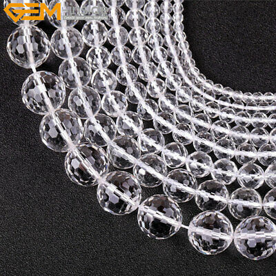 """Natural Stone Faceted Clear Rock Quartz Gemstone Beads For Jewelry Making 15"""""""
