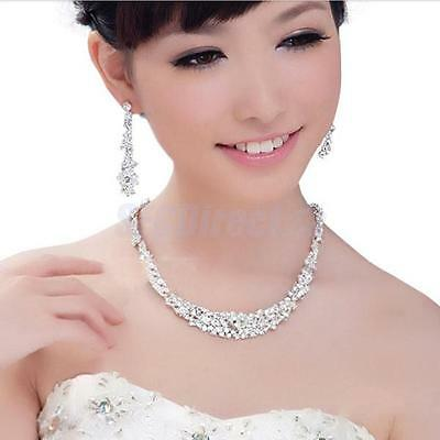 Clear Crystal Necklace Earrings Set Wedding Bridal Bridesmaid Party Prom Jewelry
