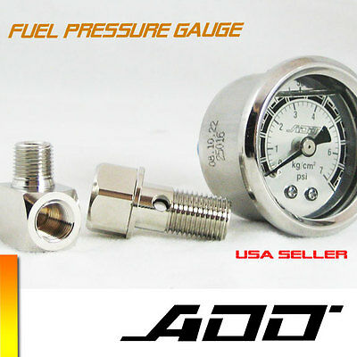 ADD W1 Fuel Pressure Regulator gauge 0-140 PSI Liquid Fill chrome oil Gauge #140