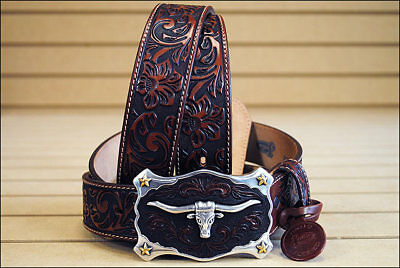 Justin Classic Western Genuine Leather Men Belt Longhorn Buckle Brown