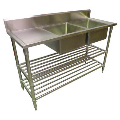 1900 x 600mm COMMERCIAL DOUBLE BOWL RIGHT KITCHEN SINK S/STEEL 2XUNDERSHELVES