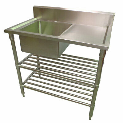 1000 x 600mm COMMERCIAL SINGLE BOWL LEFT KITCHEN SINK S/STEEL 2XUNDERSHELVES