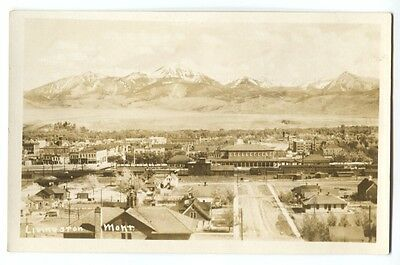 1922 Railroad Depot Livingston Montana Real Photo Postcard RPPC