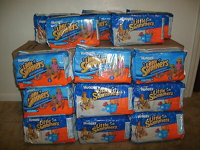 LOT OF FOURTEEN (14) Huggies Little Swimmers M 24-34 lbs Disposable Diapers Pkgs