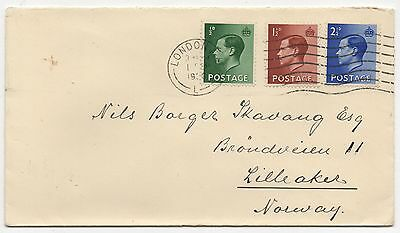 Ed VIII - 1937 set x 3 values on plain FDC with letter insert. London CDS cancel