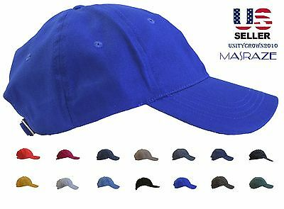 Masraze New Plain Solid Cotton Baseball Ball Cap Men/Women Hat Hats Adjustable