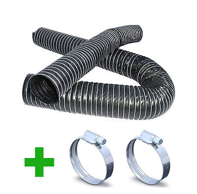 1 Ply Black Flexible Air Ductings + Hose Clips - Induction Cold Air Feed Duct