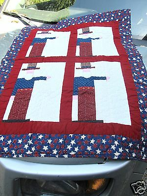 30x38 appliqued Uncle SAM wall folk art Quilt hands hold sm flags USA