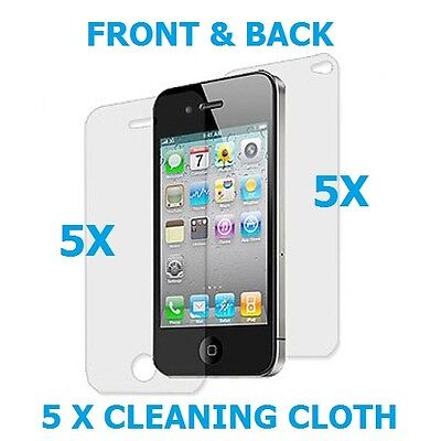 5 X Front And Back Crystal Clear Screen Protector Film Full Body For iPhone 4 4S