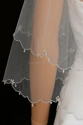 2 Layer Bridal White / Ivory Elbow Length Crystal Beaded Edge Wedding Veil