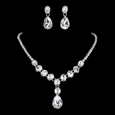 Super Twinkling Wedding 10 Carat Drip Drop Crystal Prom Necklace Earrings Set