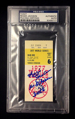REGGIE JACKSON SIGNED SIGNED 1977 WORLD SERIES GAME 6 TICKET PSA/DNA AUTO 3 HR's
