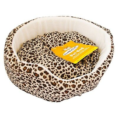Leopard Print Super Soft Luxury Comfy Dog Puppy Cat Pet Bed Removable Cushion