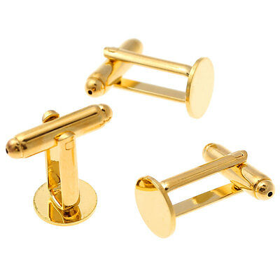 GOLD Tone Pad Plated Cufflink Findings Cuff Link Blank Backs 10mm Plate UK