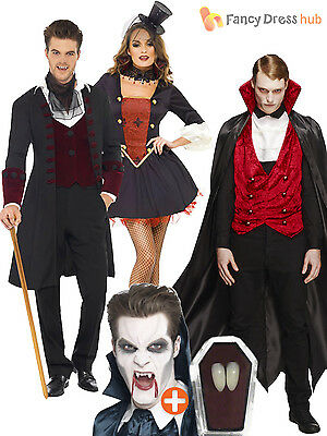 Mens Ladies Gothic Vampire + Fangs Sexy Halloween Fancy Dress Costume  Couples