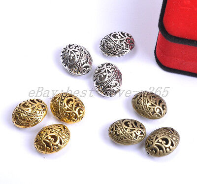10Pcs Tibetan Silver Ellipse Shaped Hollow Charms Spacer Beads Findings 22MM B26